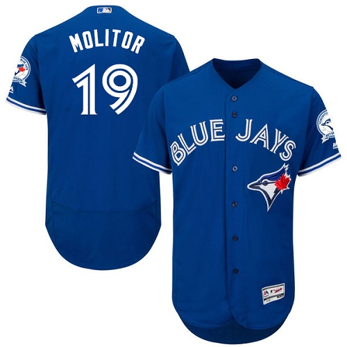 Men's Majestic Toronto Blue Jays #19 Paul Molitor Blue Alternate Flex Base Authentic Collection MLB Jersey