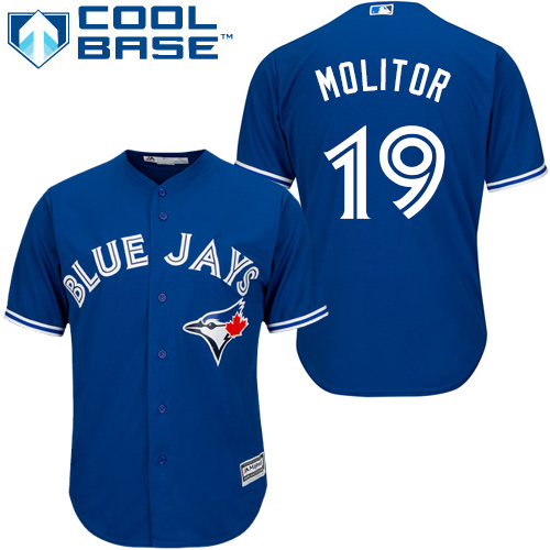 Men's Majestic Toronto Blue Jays #19 Paul Molitor Replica Blue Alternate MLB Jersey