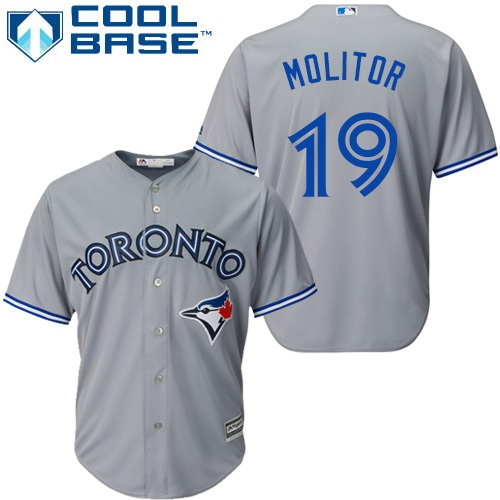 Men's Majestic Toronto Blue Jays #19 Paul Molitor Replica Grey Road MLB Jersey