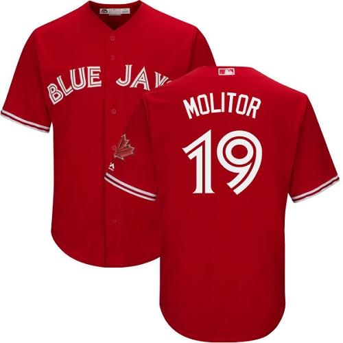 Men's Majestic Toronto Blue Jays #19 Paul Molitor Replica Scarlet Alternate Cool Base MLB Jersey