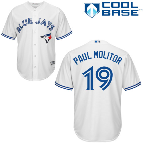 Men's Majestic Toronto Blue Jays #19 Paul Molitor Replica White Home MLB Jersey
