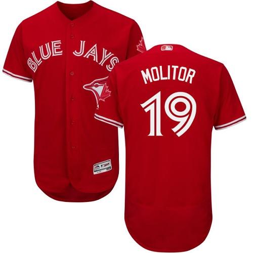 Men's Majestic Toronto Blue Jays #19 Paul Molitor Scarlet Flexbase Authentic Collection Alternate MLB Jersey