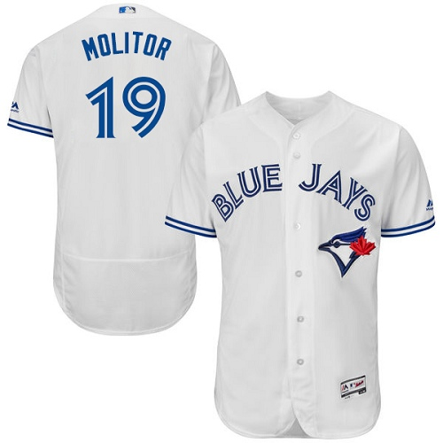 Men's Majestic Toronto Blue Jays #19 Paul Molitor White Home Flex Base Authentic Collection MLB Jersey