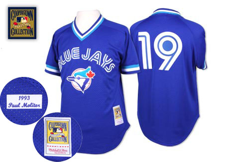 Men's Mitchell and Ness Toronto Blue Jays #19 Paul Molitor Authentic Blue Throwback MLB Jersey