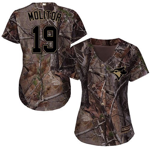 Women's Majestic Toronto Blue Jays #19 Paul Molitor Authentic Camo Realtree Collection Flex Base MLB Jersey