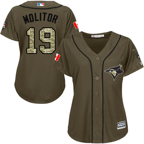 Women's Majestic Toronto Blue Jays #19 Paul Molitor Authentic Green Salute to Service MLB Jersey