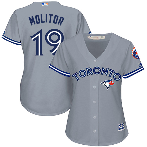 Women's Majestic Toronto Blue Jays #19 Paul Molitor Authentic Grey Road MLB Jersey