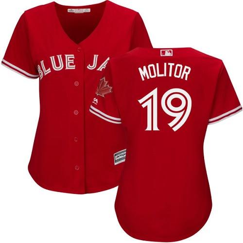 Women's Majestic Toronto Blue Jays #19 Paul Molitor Authentic Scarlet Alternate MLB Jersey