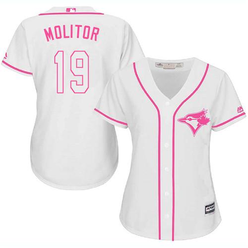 Women's Majestic Toronto Blue Jays #19 Paul Molitor Authentic White Fashion Cool Base MLB Jersey