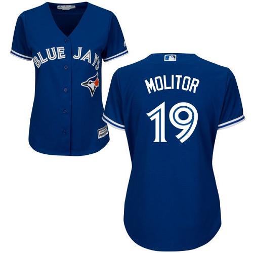Women's Majestic Toronto Blue Jays #19 Paul Molitor Replica Blue Alternate MLB Jersey