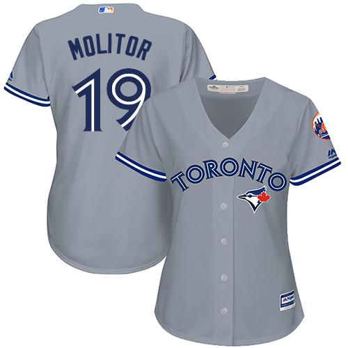 Women's Majestic Toronto Blue Jays #19 Paul Molitor Replica Grey Road MLB Jersey