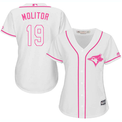 Women's Majestic Toronto Blue Jays #19 Paul Molitor Replica White Fashion Cool Base MLB Jersey