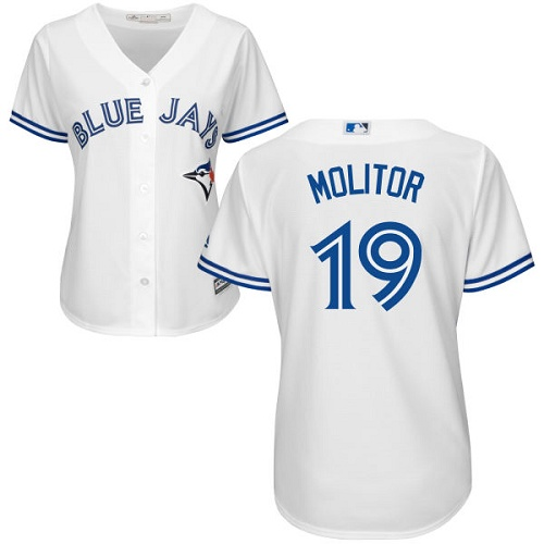 Women's Majestic Toronto Blue Jays #19 Paul Molitor Replica White Home MLB Jersey