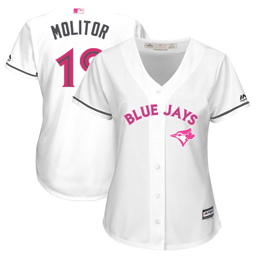 Women's Majestic Toronto Blue Jays #19 Paul Molitor Replica White Mother's Day Cool Base MLB Jersey