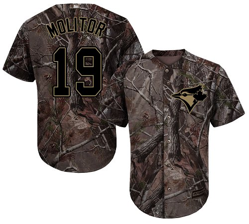 Youth Majestic Toronto Blue Jays #19 Paul Molitor Authentic Camo Realtree Collection Flex Base MLB Jersey