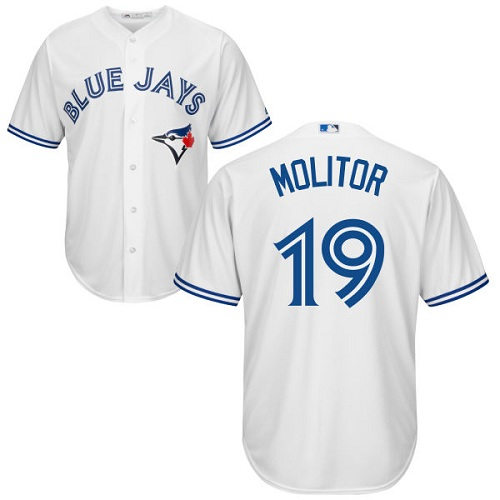 Youth Majestic Toronto Blue Jays #19 Paul Molitor Replica White Home MLB Jersey