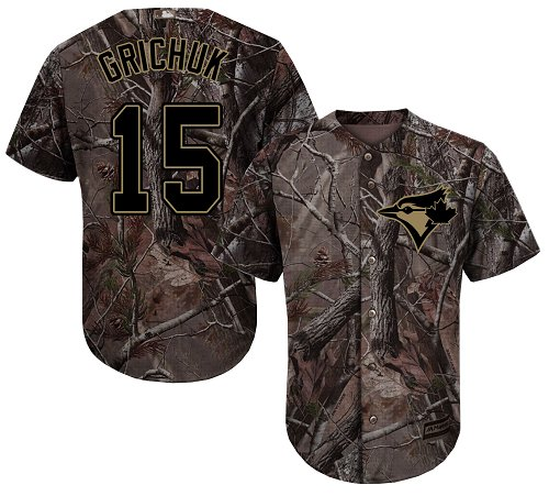 Men's Majestic Toronto Blue Jays #15 Randal Grichuk Authentic Camo Realtree Collection Flex Base MLB Jersey