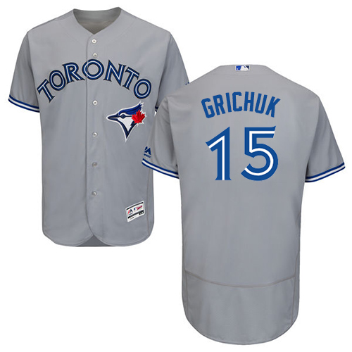 Men's Majestic Toronto Blue Jays #15 Randal Grichuk Grey Road Flex Base Authentic Collection MLB Jersey