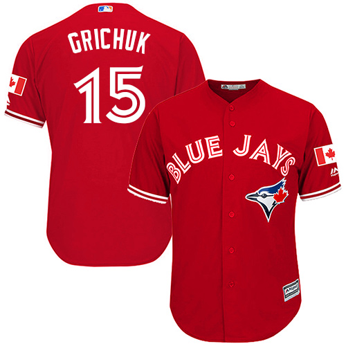 Men's Majestic Toronto Blue Jays #15 Randal Grichuk Replica Scarlet Alternate Cool Base MLB Jersey