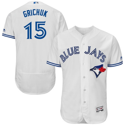 Men's Majestic Toronto Blue Jays #15 Randal Grichuk White Home Flex Base Authentic Collection MLB Jersey