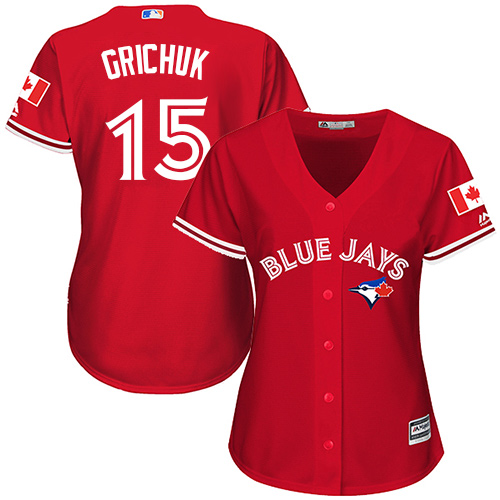 Women's Majestic Toronto Blue Jays #15 Randal Grichuk Authentic Scarlet Alternate MLB Jersey