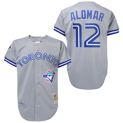 Men's Mitchell and Ness Toronto Blue Jays #12 Roberto Alomar Replica Grey Throwback MLB Jersey