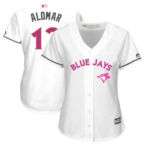 Women's Majestic Toronto Blue Jays #12 Roberto Alomar Replica White Mother's Day Cool Base MLB Jersey