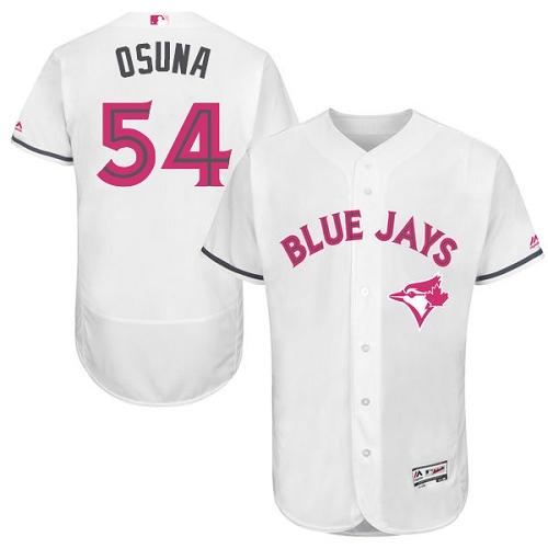 Men's Majestic Toronto Blue Jays #54 Roberto Osuna Authentic White 2016 Mother's Day Fashion Flex Base MLB Jersey