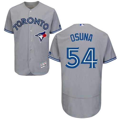 22f213866 Men s Majestic Toronto Blue Jays  54 Roberto Osuna Grey Road Flex Base  Authentic Collection MLB