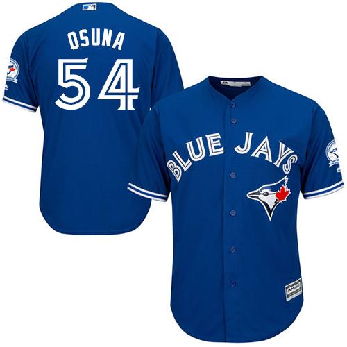 Men's Majestic Toronto Blue Jays #54 Roberto Osuna Replica Blue Alternate 40th Anniversary Patch MLB Jersey