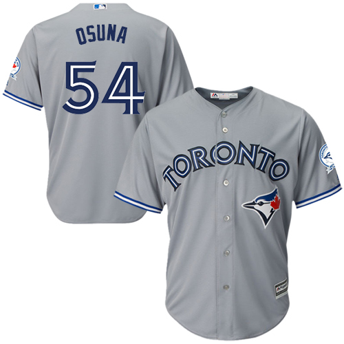 Men's Majestic Toronto Blue Jays #54 Roberto Osuna Replica Grey Road 40th Anniversary Patch MLB Jersey