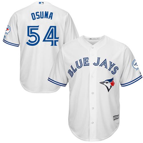 Men's Majestic Toronto Blue Jays #54 Roberto Osuna Replica White Home 40th Anniversary Patch MLB Jersey