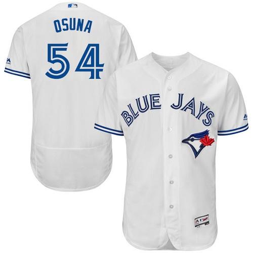 ad26c8ec7 Men s Majestic Toronto Blue Jays  54 Roberto Osuna White Home Flex Base  Authentic Collection MLB