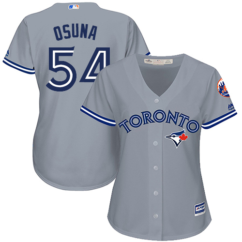 Women's Majestic Toronto Blue Jays #54 Roberto Osuna Authentic Grey Road MLB Jersey