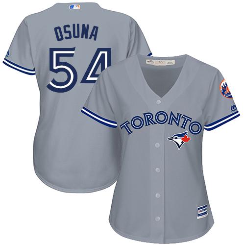 Women's Majestic Toronto Blue Jays #54 Roberto Osuna Replica Grey Road MLB Jersey