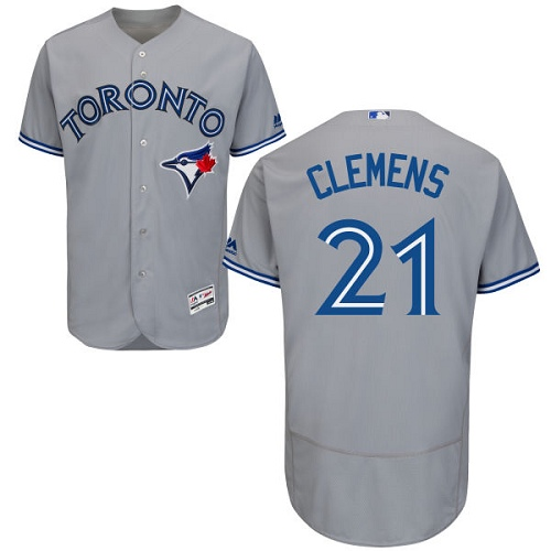 Men's Majestic Toronto Blue Jays #21 Roger Clemens Grey Road Flex Base Authentic Collection MLB Jersey