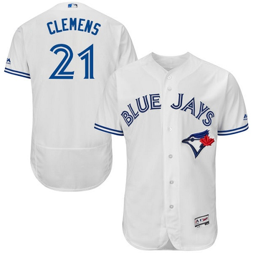 Men's Majestic Toronto Blue Jays #21 Roger Clemens White Home Flex Base Authentic Collection MLB Jersey