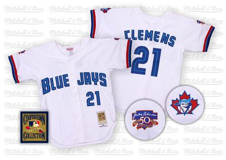 Men's Mitchell and Ness Toronto Blue Jays #21 Roger Clemens Replica White Throwback MLB Jersey
