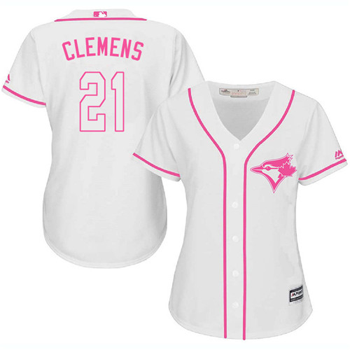 Women's Majestic Toronto Blue Jays #21 Roger Clemens Authentic White Fashion Cool Base MLB Jersey