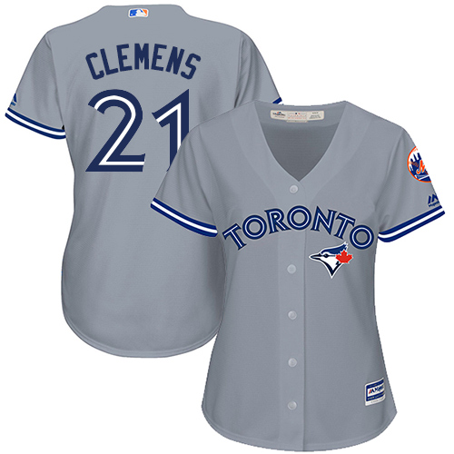 Women's Majestic Toronto Blue Jays #21 Roger Clemens Replica Grey Road MLB Jersey