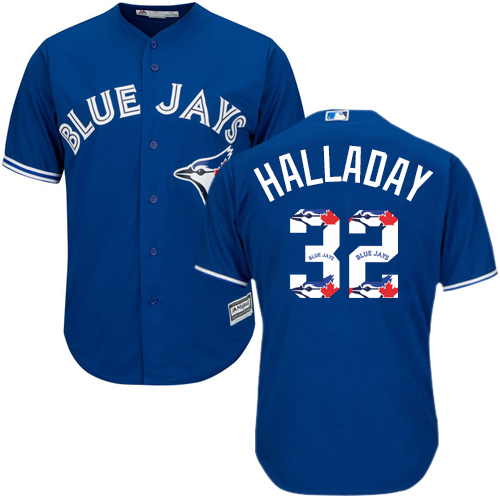 Men's Majestic Toronto Blue Jays #32 Roy Halladay Authentic Blue Team Logo Fashion MLB Jersey