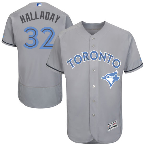 Men's Majestic Toronto Blue Jays #32 Roy Halladay Authentic Gray 2016 Father's Day Fashion Flex Base MLB Jersey