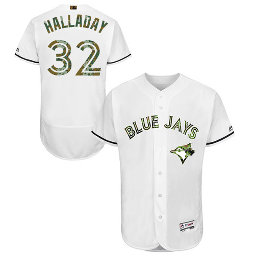 Men's Majestic Toronto Blue Jays #32 Roy Halladay Authentic White 2016 Memorial Day Fashion Flex Base MLB Jersey