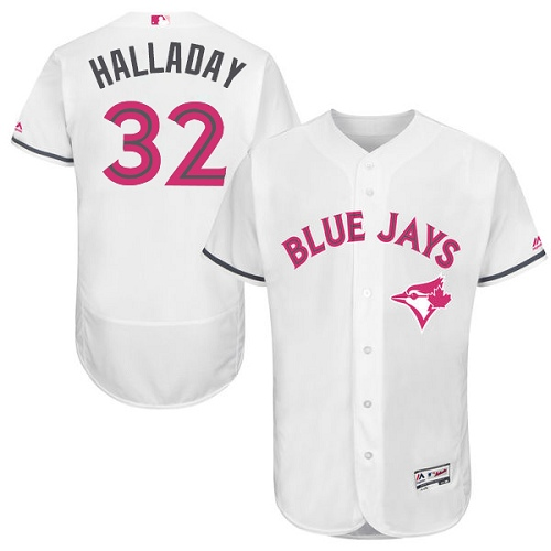 Men's Majestic Toronto Blue Jays #32 Roy Halladay Authentic White 2016 Mother's Day Fashion Flex Base MLB Jersey