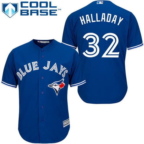 Men's Majestic Toronto Blue Jays #32 Roy Halladay Replica Blue Alternate MLB Jersey