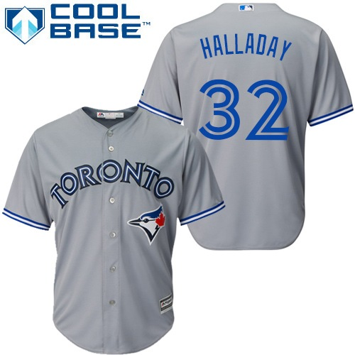 Men's Majestic Toronto Blue Jays #32 Roy Halladay Replica Grey Road MLB Jersey