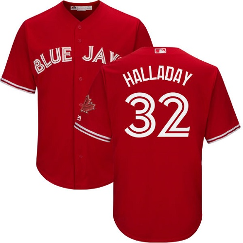 Men's Majestic Toronto Blue Jays #32 Roy Halladay Replica Scarlet Alternate Cool Base MLB Jersey