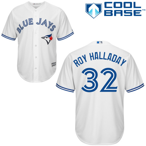 Men's Majestic Toronto Blue Jays #32 Roy Halladay Replica White Home MLB Jersey