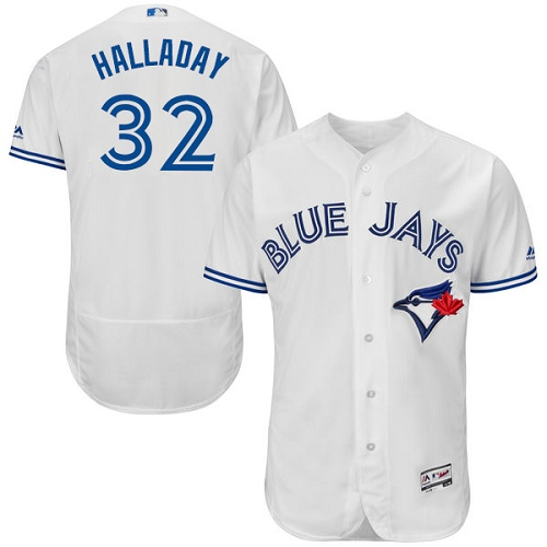 Men's Majestic Toronto Blue Jays #32 Roy Halladay White Home Flex Base Authentic Collection MLB Jersey