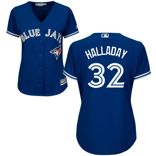 Women's Majestic Toronto Blue Jays #32 Roy Halladay Replica Blue Alternate MLB Jersey